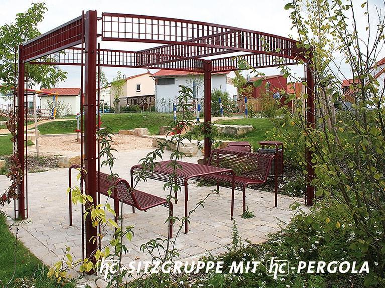 hygrocare Stadtmobiliar: Pergola Sitzgruppe